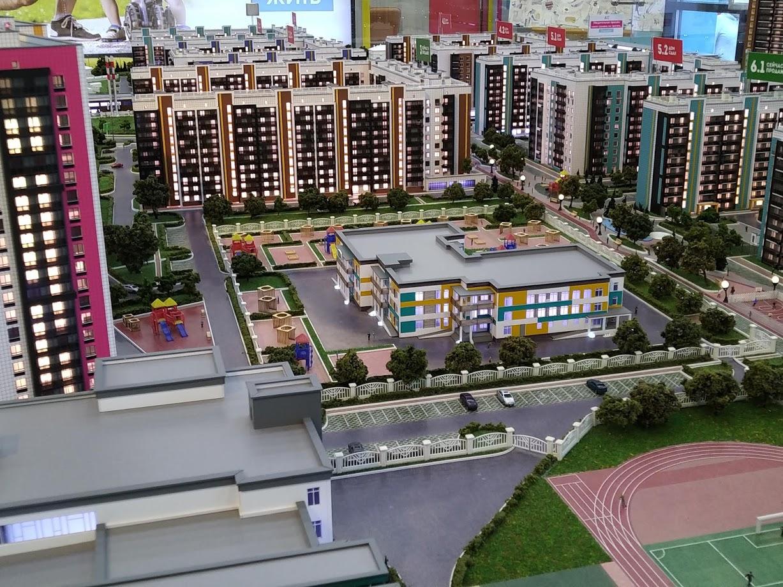 Территория нового жилого комплекса в Октябрьском городке. Макет.