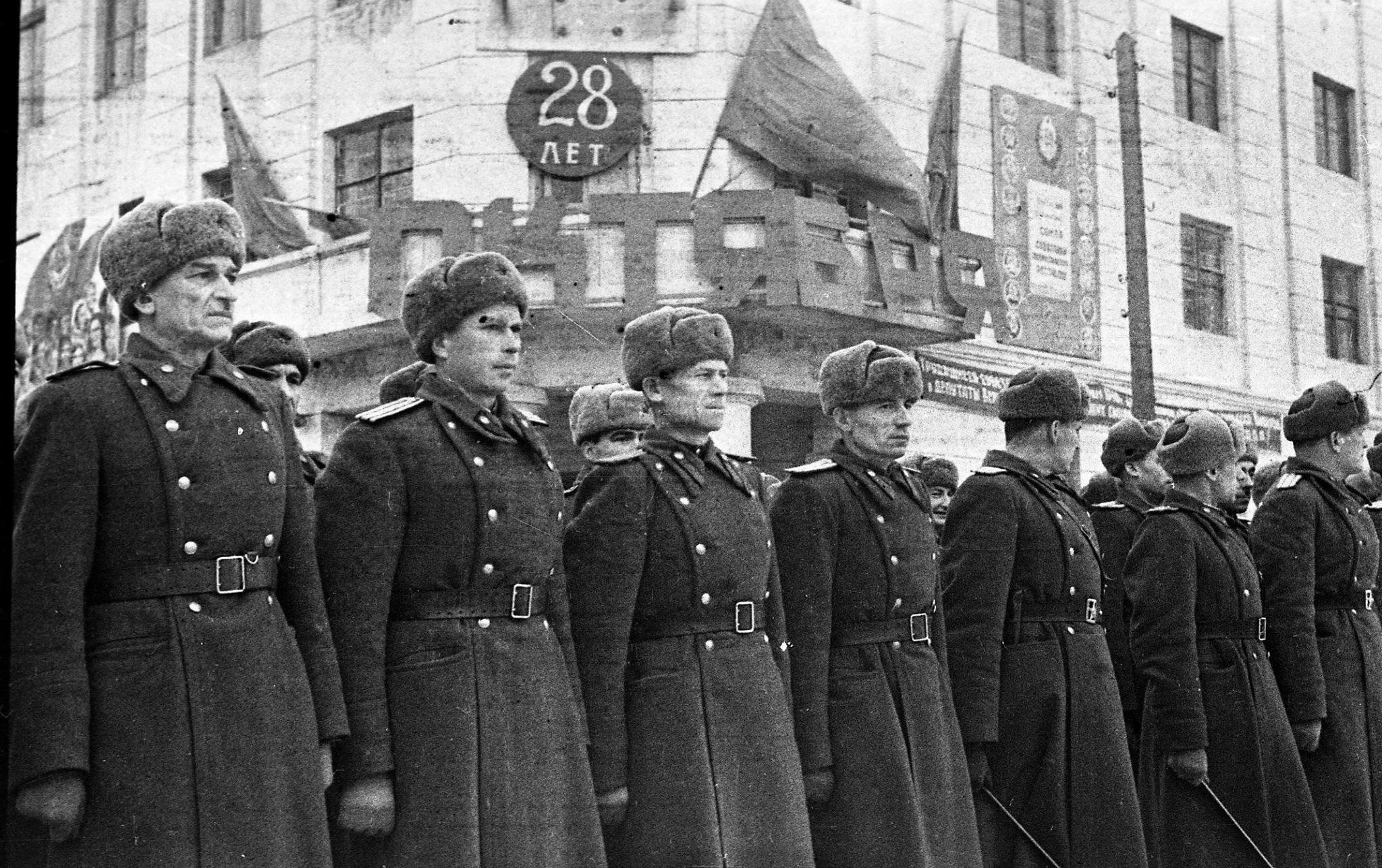 Парад на площади Свободы 7 ноября 1945 года
