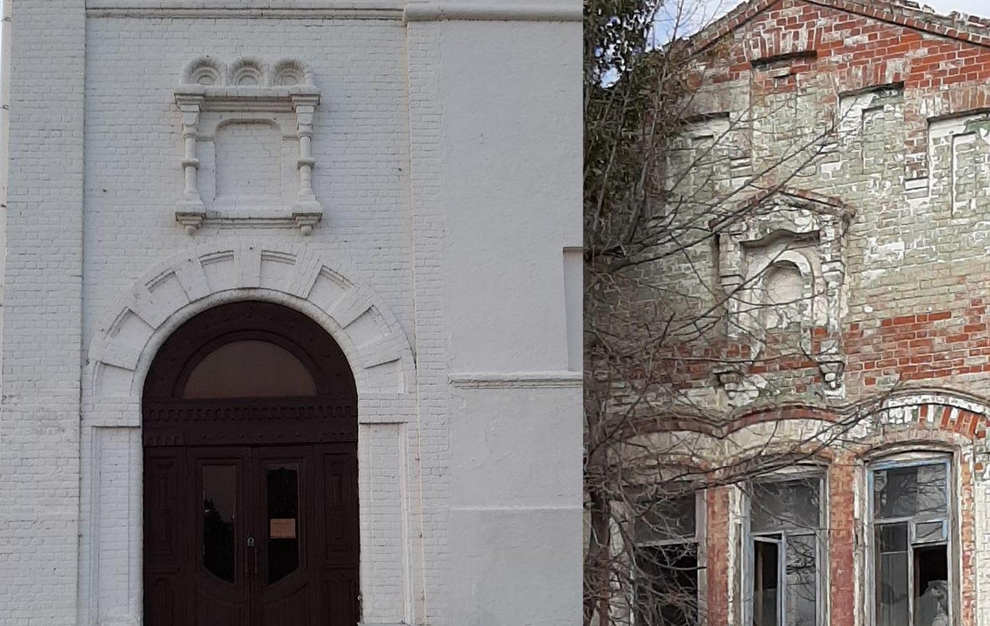 Для сравнения слева - ниша над входом в уничтоженный Спасо-Преображенский монастырь в Кремле, отмечает Ян. Справа - подобная ниша в здании на улице Клары Цеткин.