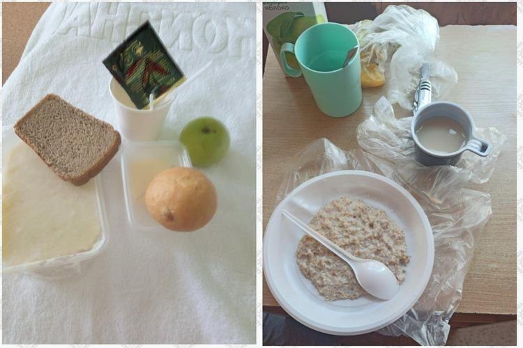слева: завтрак в 7-й больнице Казани; справа: завтрак в 1-й детской больнице Казани