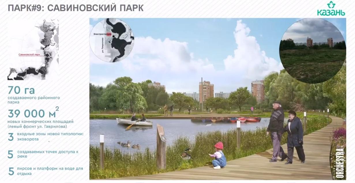 Еще один большой проект – создание районного парка «Савиново», где жители смогут не только прогуляться по зеленой набережной, но и узнать новое об истории района.