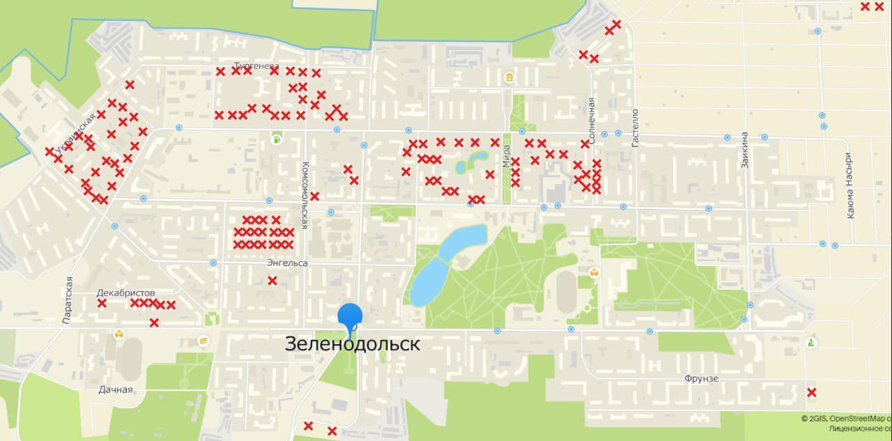 Карта домов в Зеленодольске, признанных аварийными постановлением от 31 декабря 2011 года.