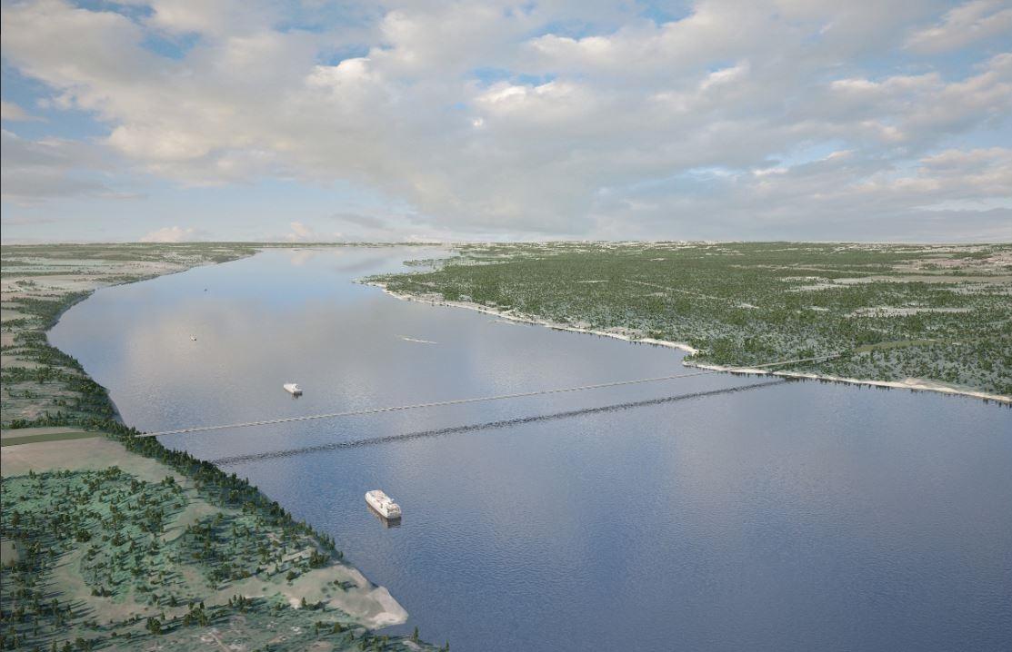 Эскиз моста, опубликованный «Автодором». Слева - Гребени, справа - Светлая поляна.